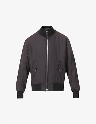 HELMUT LANG: Strap-embroidered cotton and wool bomber jacket