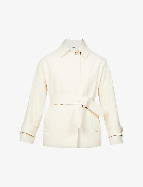 VINCE: Belted cotton and wool-blend jacket