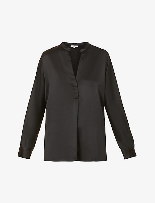 VINCE: Relaxed-fit V-neck silk shirt
