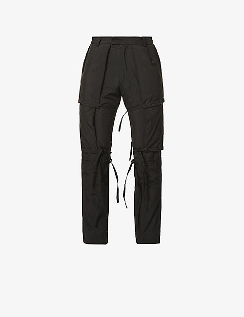 PIECES UNIQUES: Bushi padded straight shell trousers