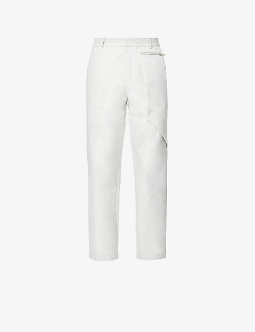 PIECES UNIQUES: Straight-leg high-rise shell trousers