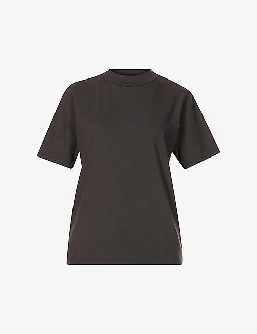 LES TIEN: High-neck cotton-jersey T-shirt