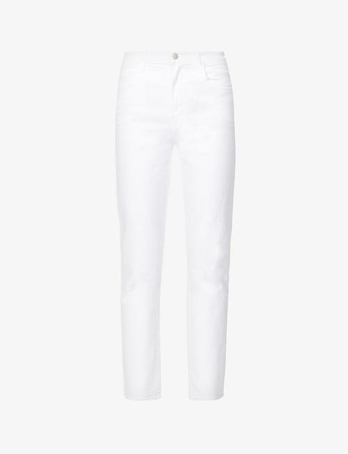 J BRAND: Alma straight-leg high-rise stretch-denim jeans