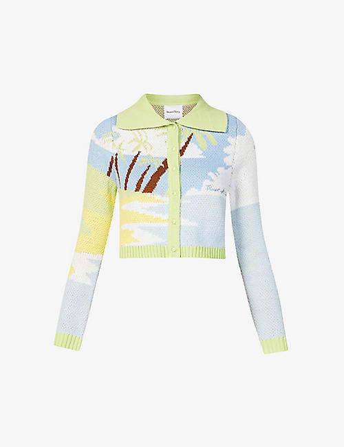 HOUSE OF SUNNY: Day Dreamer graphic-print knitted cardigan