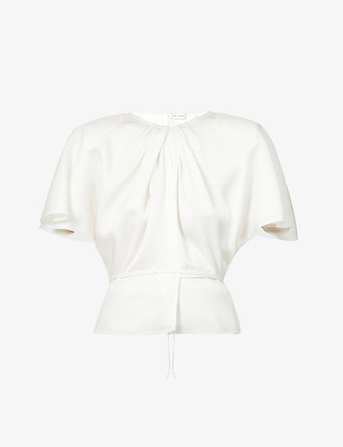 MAGDA BUTRYM: Gathered short flare-sleeve silk top