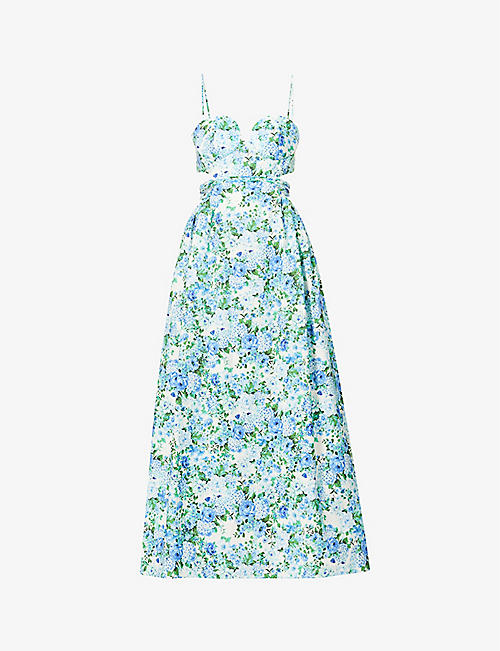 MAGDA BUTRYM: Floral-print cotton-, linen- and silk-blend midi dress