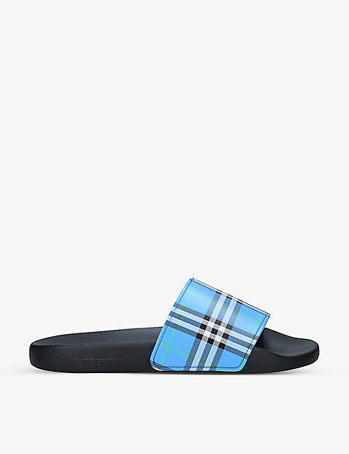 BURBERRY: Furley checked rubber sliders