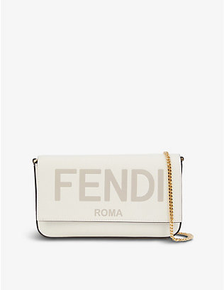 FENDI: Logo-print leather wallet-on-chain