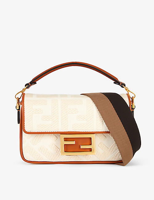 FENDI: FF-embroidered cotton-blend shoulder bag