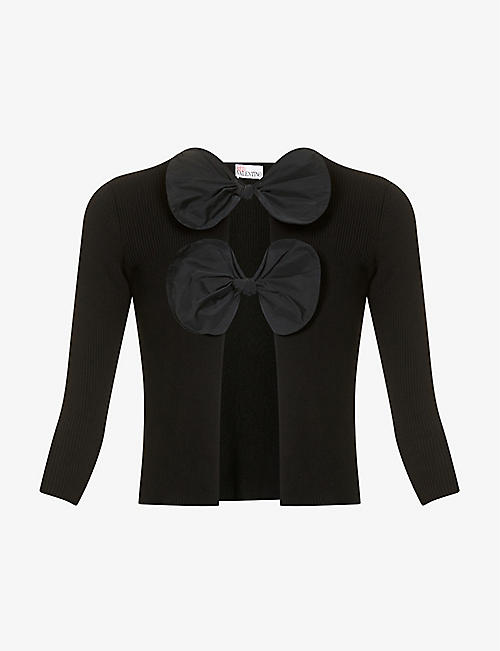 RED VALENTINO: Bow-embellished cotton-knit cardigan
