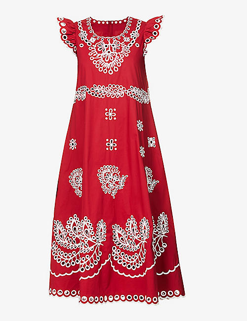 RED VALENTINO: Broderie anglaise stretch-cotton maxi dress