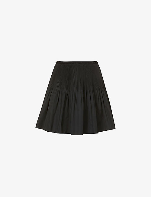 RED VALENTINO: Pleated high-waist woven mini skirt