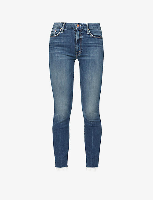 MOTHER: Looker mid-rise cropped stretch-cotton jeans
