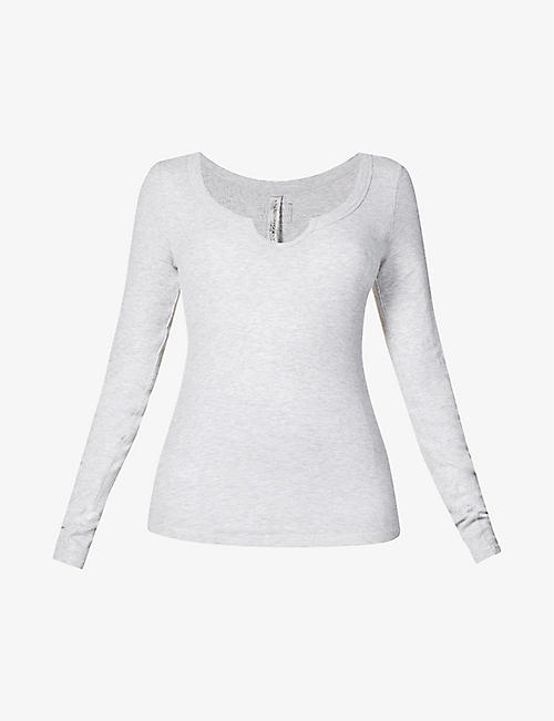 LORNA JANE: Serene scoop-neck stretch-jersey top