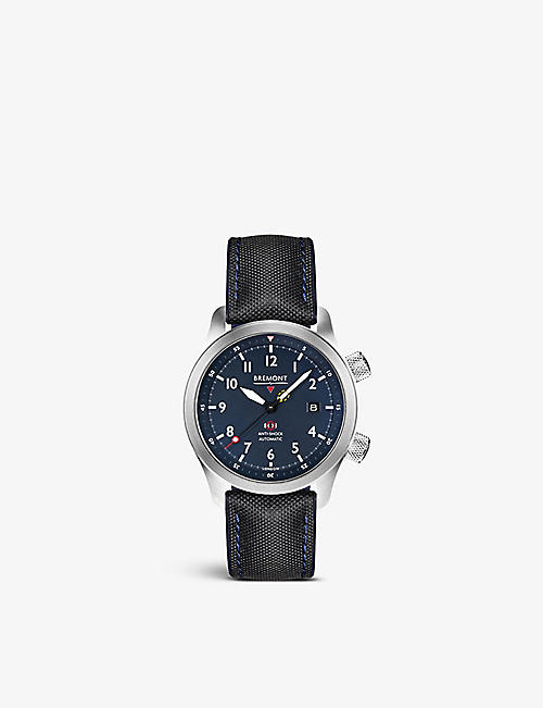 BREMONT: MBII-BL Martin Baker stainless steel and fabric automatic watch