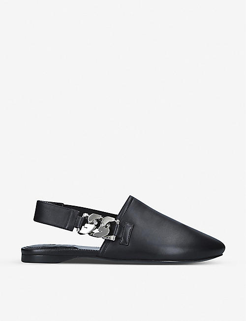 GIVENCHY: G Chain embellished slingback leather mules