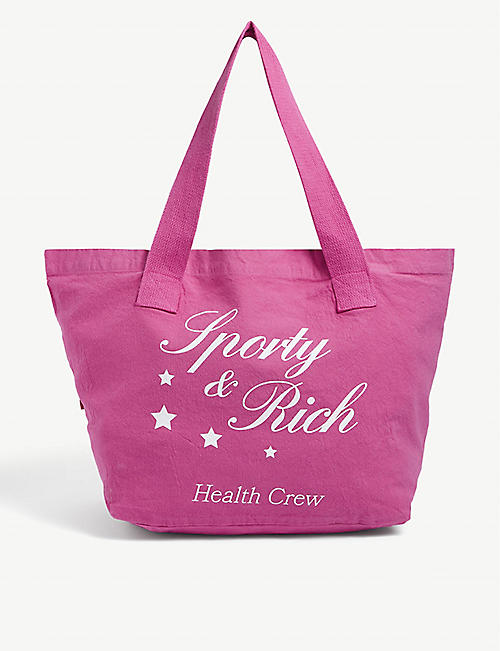SPORTY & RICH: Health Crew logo-print canvas tote bag