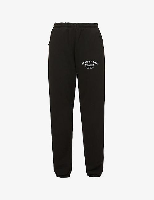 SPORTY & RICH: Wellness Studio branded mid-rise cotton-jersey jogging bottoms