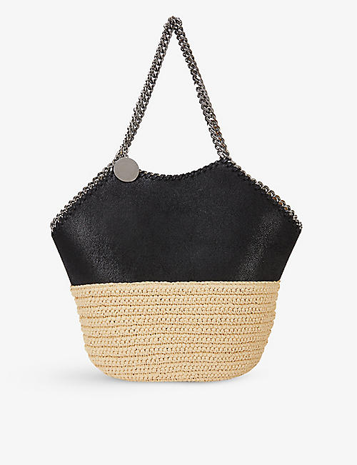 STELLA MCCARTNEY: Falabella medium faux-suede and raffia tote bag