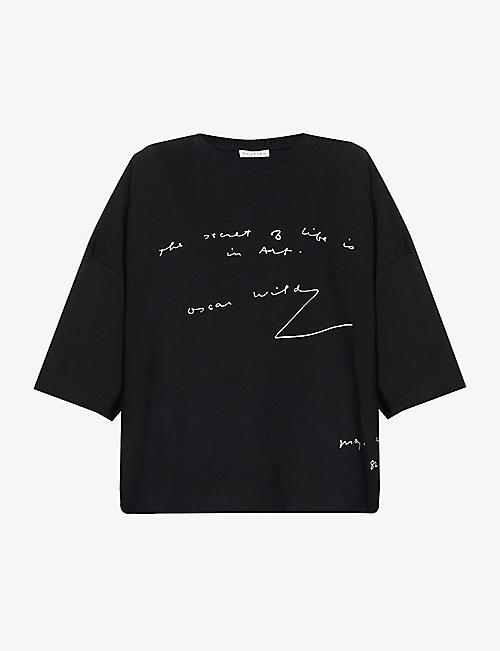 JW ANDERSON: Oscar Wilde embroidered oversized cotton-jersey T-shirt