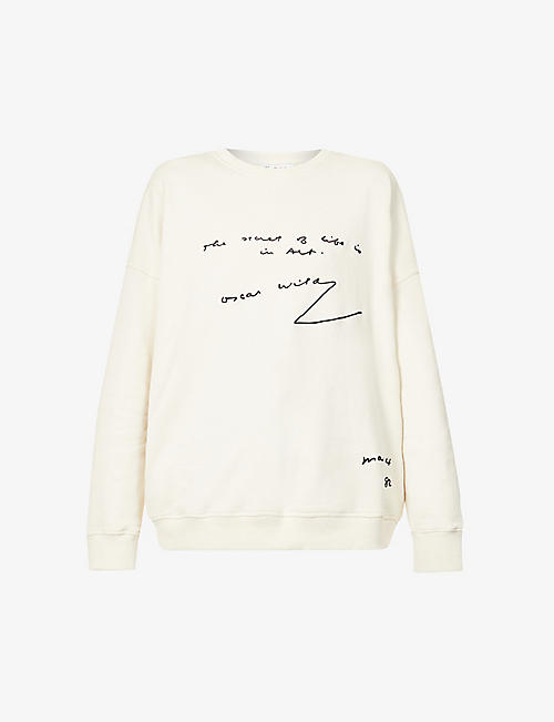 JW ANDERSON: Oscar Wilde embroidered oversized cotton-jersey sweatshirt