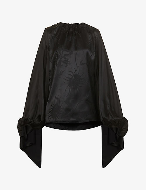 JW ANDERSON: Cape-sleeved gathered woven top