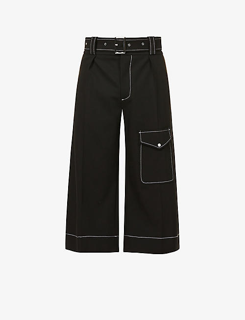 WALES BONNER: Jones contrast-stitching woven Bermuda Shorts
