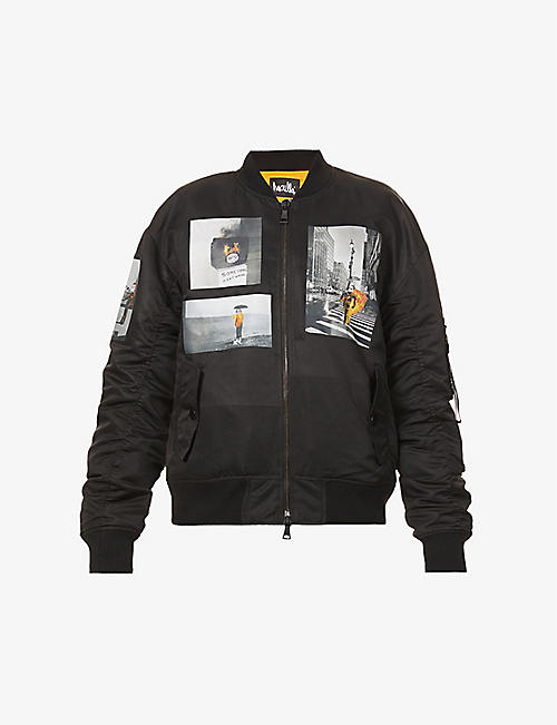 HACULLA: New York Tough graphic-print shell bomber jacket