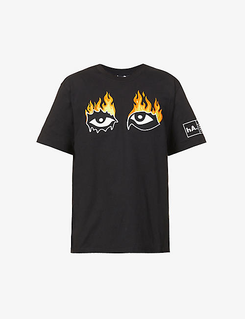 HACULLA: Eyes On Fire eyes-appliqué cotton-jersey T-shirt