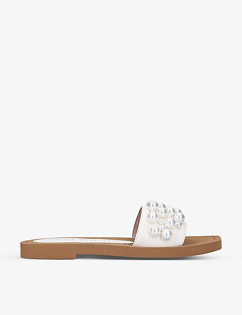 STUART WEITZMAN: Goldie faux-pearl embellished leather sandals
