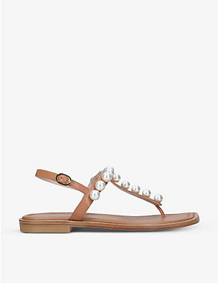 STUART WEITZMAN: Goldie faux-pearl embellished T-strap leather sandals