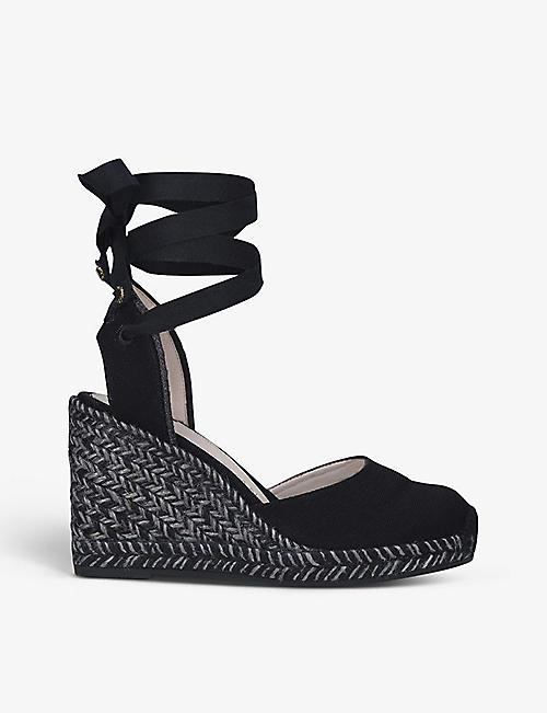 STUART WEITZMAN: Marguerita cotton wedge espadrilles