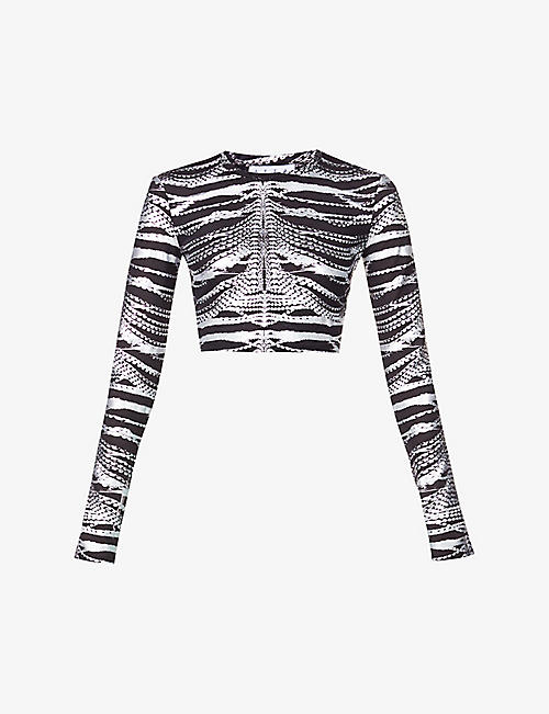 AREA: Metallic-print stretch-woven top