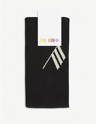 ATTICO: Logo-embroidered cotton-blend knee-high socks
