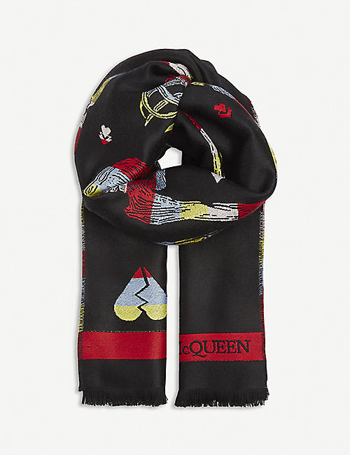 ALEXANDER MCQUEEN: Embroidered-skeleton wool scarf