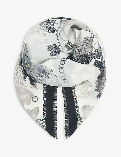 ALEXANDER MCQUEEN: Floral-print fringed wool scarf