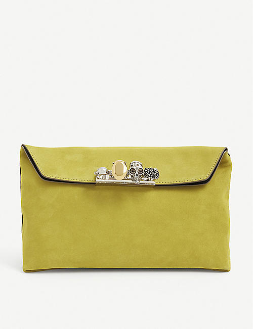 ALEXANDER MCQUEEN: Skull-embellished knuckleduster suede pouch