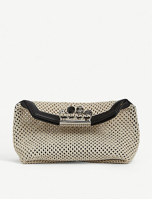 ALEXANDER MCQUEEN: Knuckleduster skull-embellished woven pouch