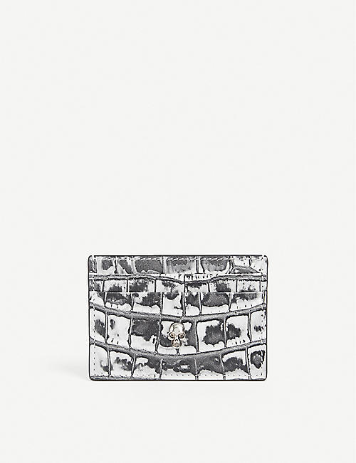 ALEXANDER MCQUEEN: Croc-embossed leather cardholder
