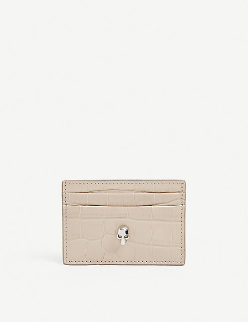 ALEXANDER MCQUEEN: Crocodile-embossed leather card holder