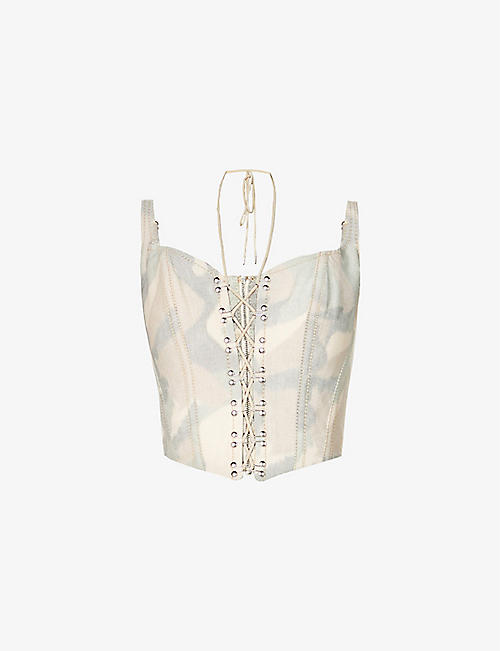 DION LEE: Camo-print cotton-blend corset