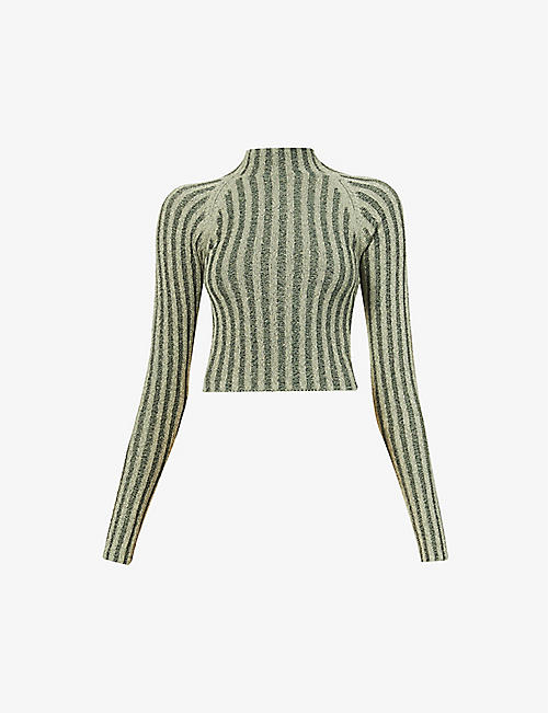 DION LEE: Striped cut-out cotton-blend jumper