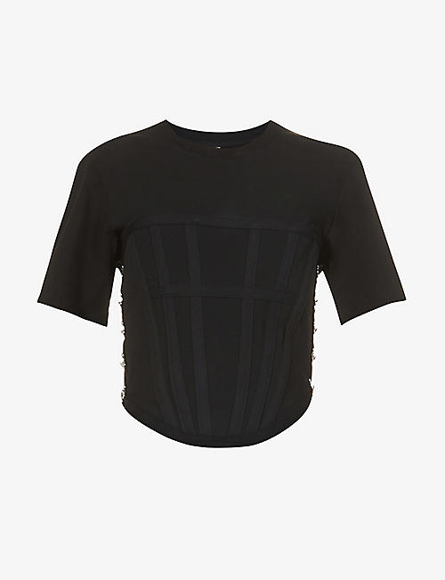 DION LEE: Corset cotton-jersey T-shirt