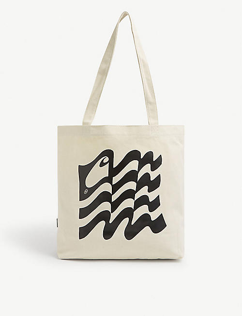 CARHARTT WIP: Wavy State brand-print cotton-blend tote bag