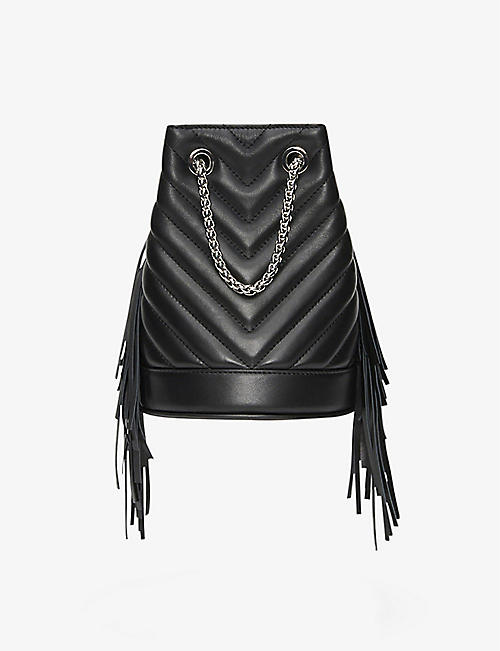 CLAUDIE PIERLOT: Andy small leather chevron-stitched fringe purse bag