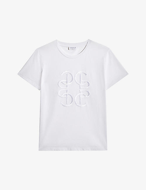 CLAUDIE PIERLOT: Ticia logo-embossed cotton T-shirt