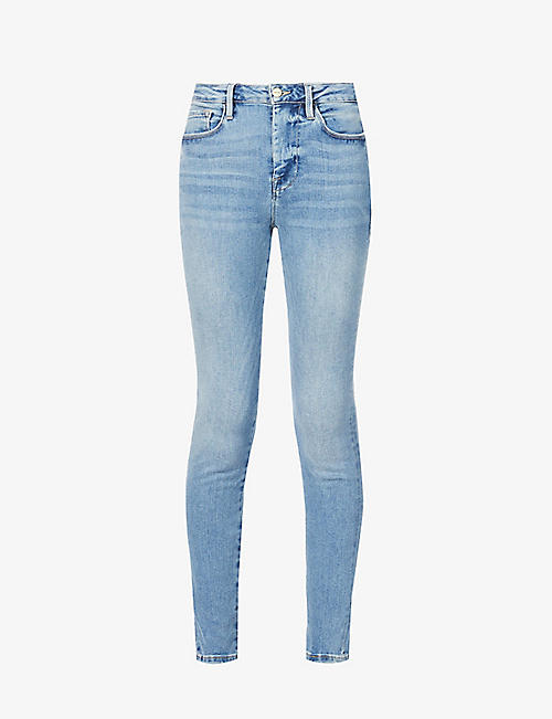 FRAME: Le One skinny high-rise stretch-organic denim jeans
