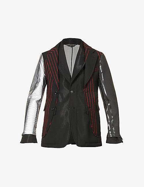 COMME DES GARCONS HOMME PLUS: Striped contrast-sleeve shell and woven blazer
