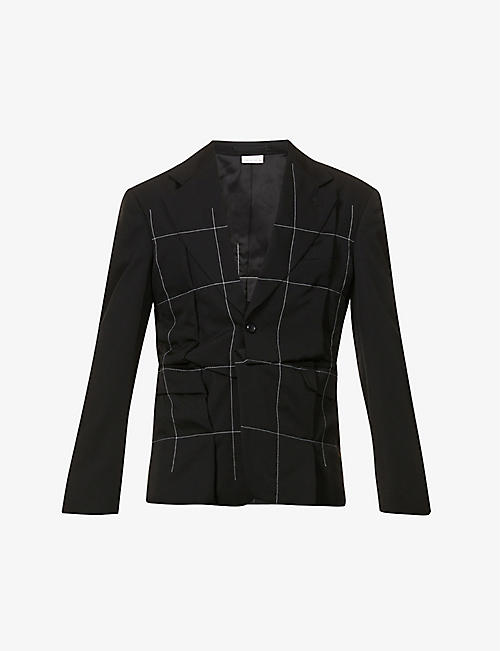 COMME DES GARCONS HOMME PLUS: Padded-shoulder asymmetric-fit wool blazer
