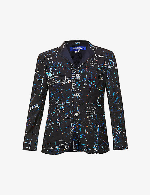 JUNYA WATANABE: Graphic-print notch-lapel wool blazer
